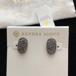 Kendra Scott Ellie Gunmetal Stud In Black Drusy